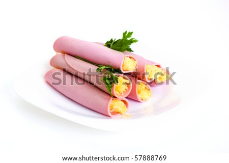 ham rolls with cheese isolated on white background