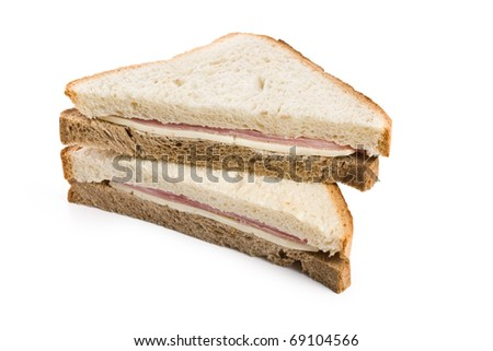 ham sandwich on white background