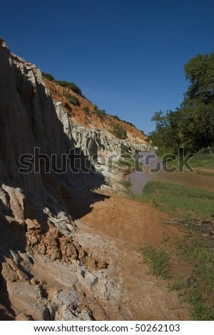 Ham Tien canyon in Vietnam with muddy river in Mui Ne Vietnam