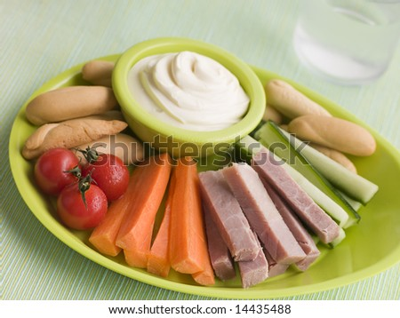 Ham Vegetable and Bread Sticks with Cheese Spread