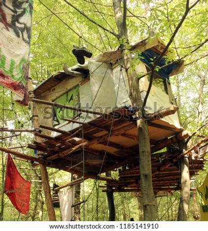 Hambach Forest. the life of defenders of wood in houses on trees