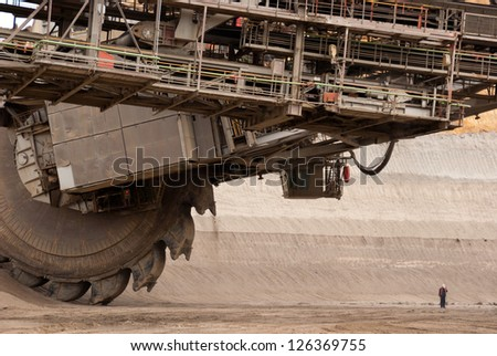 HAMBACH, GERMANY - SEPTEMBER 1: A close-up of one of the world's largest bucket-wheel excavators digging lignite (brown-coal) in of the world's deepest open-pit mines in Hambach on September 1, 2010