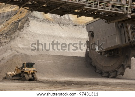 HAMBACH, GERMANY - SEPTEMBER 1: A shovel and a very large bucket-wheel excavators digging for lignite (brown-coal) in of the world's deepest open-pit mines in Hambach on September 1, 2010.