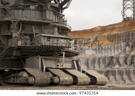 HAMBACH, GERMANY - SEPTEMBER 1: One of the world's largest bucket-wheel excavators digging for lignite (brown-coal) in of the world's deepest open-pit mines in Hambach on September 1, 2010.