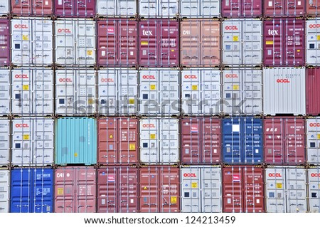 HAMBURG - APRIL 02. Stacked container at the terminal in Hamburg on April 02, 2011. Hamburg is one of the most important harbors for international trade in Europe