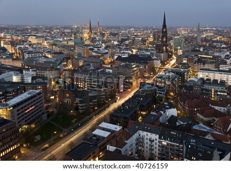 Hamburg city by night