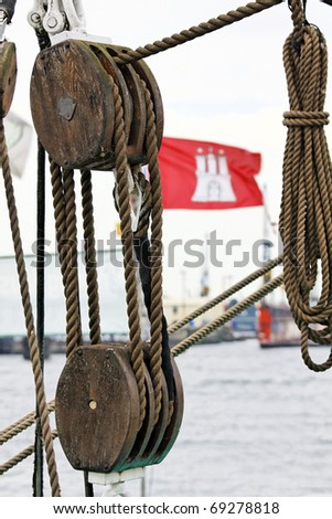 Hamburg flag and rigging on a ship