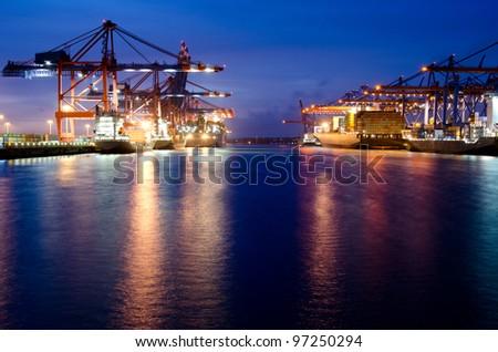Hamburg, Germany, container terminal night - stock photo