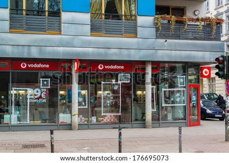 HAMBURG, GERMANY - FEBRUARY 8, 2014: Demolished shop windows of a Vodafone store close to Rote Flora building after the recent riots and demonstrations on February 8, 2014 in Hamburg, Germany.