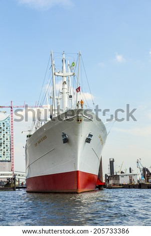 HAMBURG, GERMANY - JULY 17, 2014: cargo ship MS Cap San Diegoserves nowadays as a museum ship in Hamburg, Germany. The Cap San Diego was built and launched by Deutsche Werft in 1961 for Hamburg Sued.