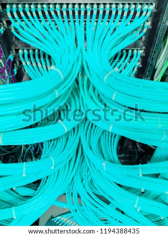 Hamburg, Germany - June 25, 2018: Network switch for network cable fiber optic cable in a data center - Shutterstock ID 1194388435