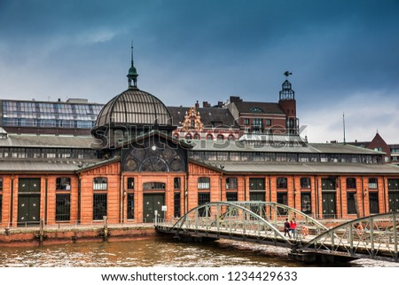 HAMBURG, GERMANY - MARCH, 2018: Fishmarkt building at the Altona district on the banks of the Elbe river in Hamburg