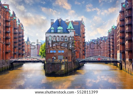 Hamburg, Germany - Popular Water Castle in the warehouse district