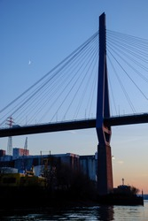 Hamburg, Germany: Pylon of the Koehlbrand Bridge in Hamburg in the twilight