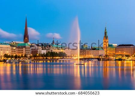 Hamburg Germany Skyline at dusk