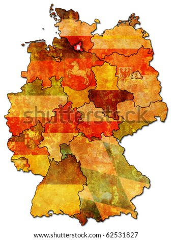 Hamburg on old administration map of german provinces (states) with clipping path