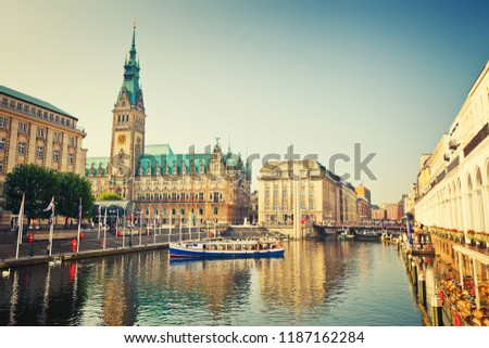 Hamburg townhall and Alster river