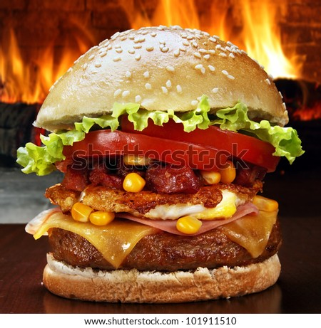 hamburger - stock photo