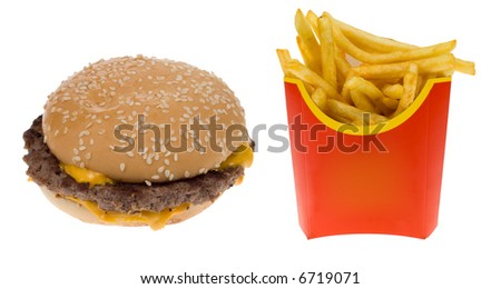 Hamburger and a box of french fries isolated on a white background