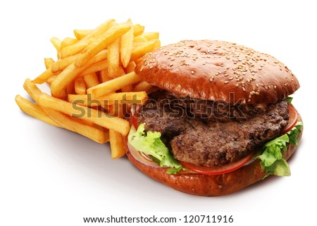hamburger and french fries isolated on white background.