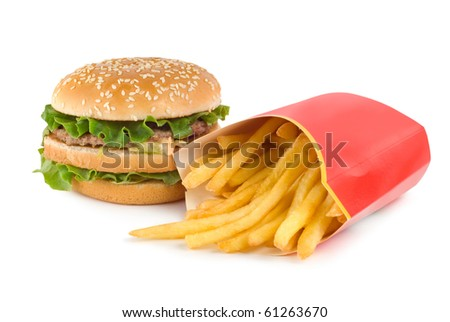 Hamburger and french fries isolated on white background