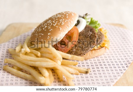 Hamburger and french fries with selective focus on burger