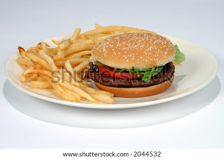 Hamburger and fries on a white background (With clipping Path)