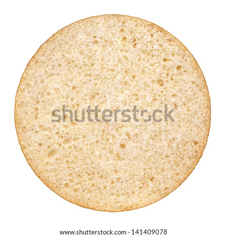 Hamburger bun on a white background. View from the top