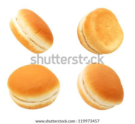 Hamburger buns isolated on white background