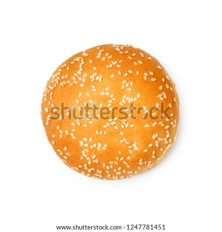 Hamburger buns with sesame isolated on white background. Top view.