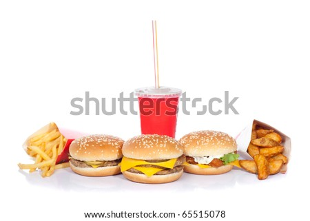 hamburger, cheeseburger, fishburger, soda drink, french fries and roast potatoes (focus on central burger)