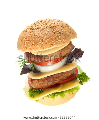 Hamburger. Fast food it is isolated on a white background