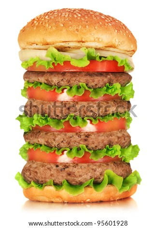 Hamburger. Hamburger on white background. Vintage Hamburger. Home made burger. Fastfood meal. Pub burger. Delicious Hamburger. Gourmet hamburger. Hamburger isolated. Rustic Hamburger, bun.