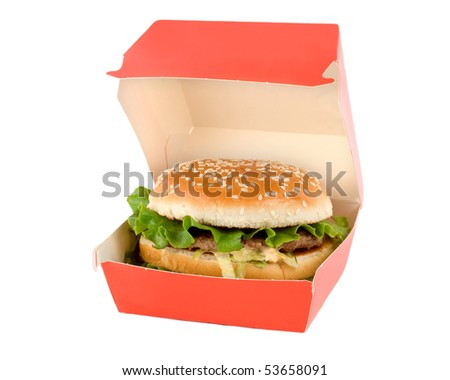 Hamburger in red box isolated on white background.