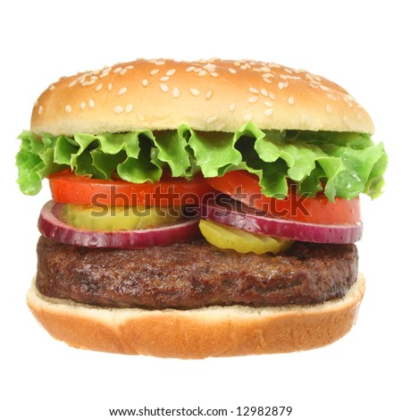 Hamburger isolated on white. Fast food & barbecue collection.