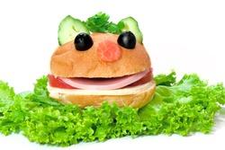 Hamburger looks like a funny muzzle, isolated on white background