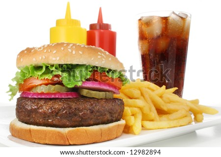 Hamburger meal served with french fries and soda close-up. Fast food & barbecue collection.