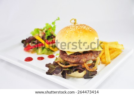 Hamburger  Meat and cheese with fried potatoes and salad