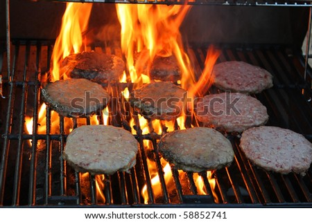 Hamburger meat on grill