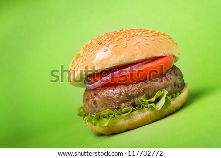 Hamburger on green background