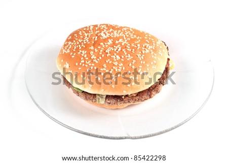 Hamburger sandwich isolated on white