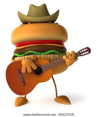 Hamburger with a guitar