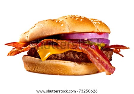 Hamburger,with a white background.Smoking hot bacon onions and a beef patty