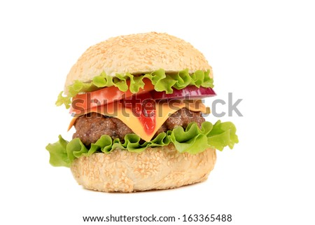 Hamburger with cheese and ketchup. Isolated on a white background.