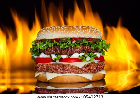 Hamburger with fire