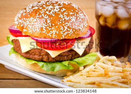 Hamburger with French fries