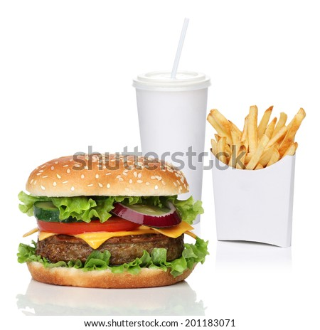 Hamburger with french fries and a cola drink isolated on white