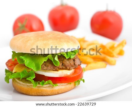 Hamburger with fries and tomatoes