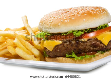 hamburger with fries on white background
