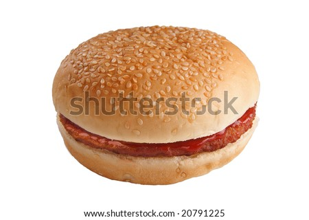Hamburger With Ketchup On White Background Stock Photo 20791225 ...